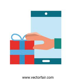 hand holding gift smartphone online shopping