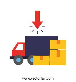 truck delivery cardboard boxes online shopping