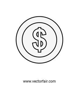 dollar coin money currency isolated