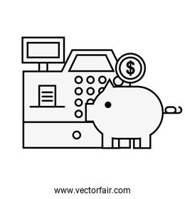 cash register piggy bank coin online shopping