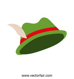 green hat with feather and ribbon