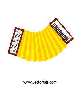 accordion wind musical instrument over white