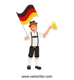 bavarian man holding beer and germany flag