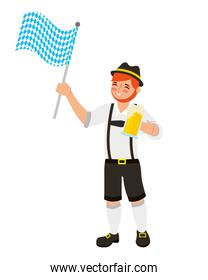 bavarian man with beer and flag waving