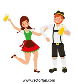 bavarian man and woman with beer glasses
