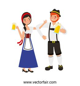 bavarian man and woman with cold beers