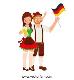 bavarian man and woman with flag and beer