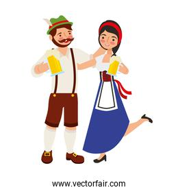 bavarian man and woman with cold beers characters