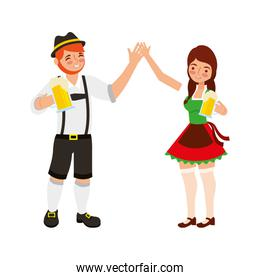 bavarian man and woman holding hands with beers