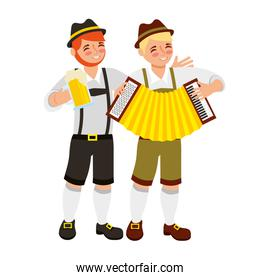 bavarian men with beer glass and accordion