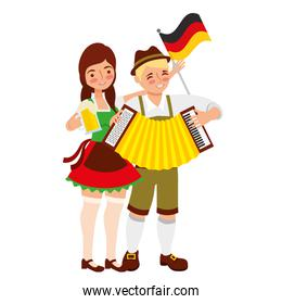 bavarian man and woman with flag accordion and beer