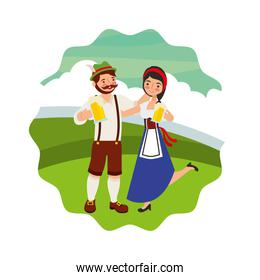 bavarian man and woman with beers landscape