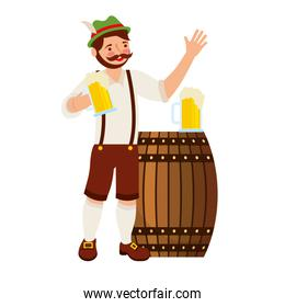 bavarian man holding beers glass and barrel