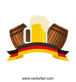 beer barrels and glass cup foam flag germany ribbon