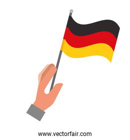 hand holding germany flag isolated