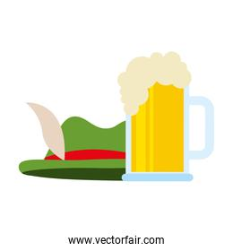 green hat and beer glass isolated design