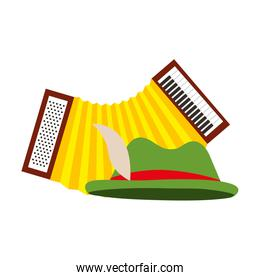 green hat and accordion musical instrument