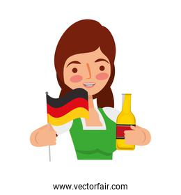 bavarian woman holding bottle beer and flag