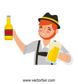 bavarian man holding bottle beer and glass cup character