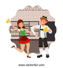 bavarian man and woman drinking beer  in the bar