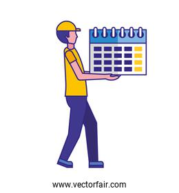 man holding calendar reminder planning
