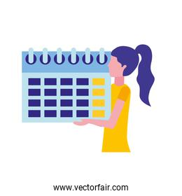 woman holding calendar reminder planning