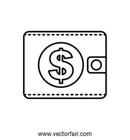 wallet dollar money isolated image