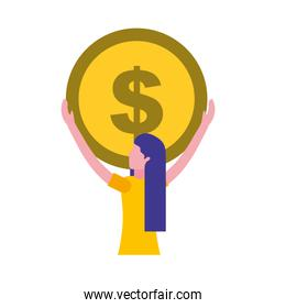 woman holding big coin money