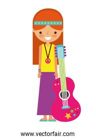 hippie woman cartoon with guitar
