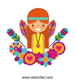 hippie woman cartoon flowers feathers portrait