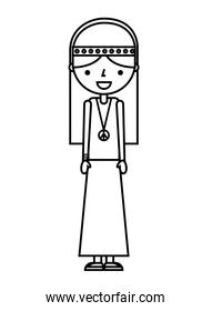 hippie woman cartoon character on white background