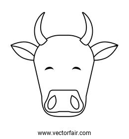 Indian cow head line style icon