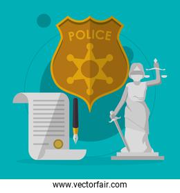law and justice icons design