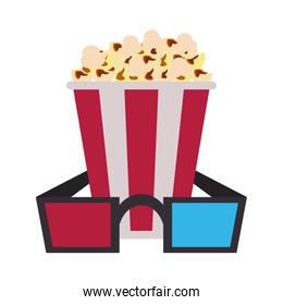 popcorn bucket with 3d glasses icon image