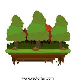 forest on flotating piece of land icon image
