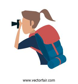 female tourist with backpack avatar icon image