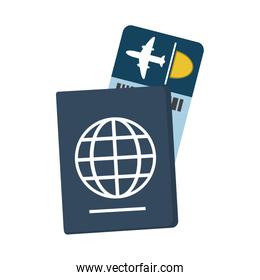 passport with boarding pass icon image