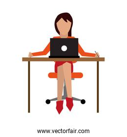 woman working on desk icon image