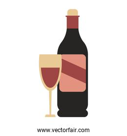 wine bottle and glass icon image
