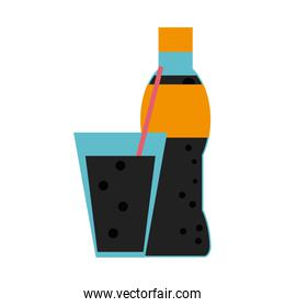 soda bottle and glass with straw icon image