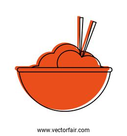 rice bowl with chopsticks food icon image