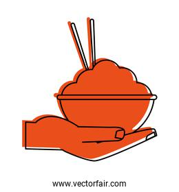 hand holding rice bowl with chopsticks food icon image
