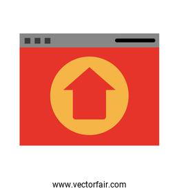 website or tab with upwards arrow isolated icon