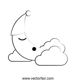 Moon and clouds cartoon