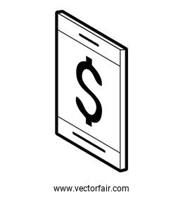 cellphone with dollar sign money related icon image