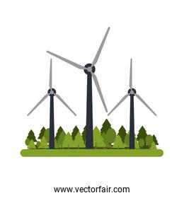 wind turbines in forest icon image