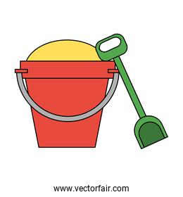 bucket filled with sand and shovel icon image