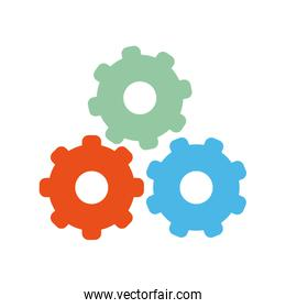 three gears different colors icon image