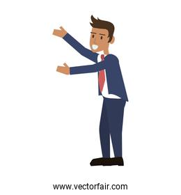 happy businessman stretching arms to the side icon image