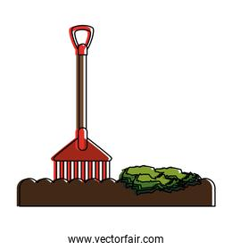 rake with soil and plant tool icon image